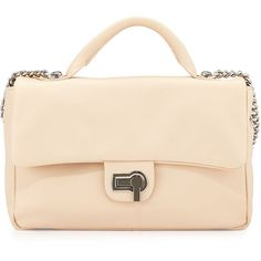 Charles Jourdan Vogue Flap-Top Leather Shoulder Bag ($96) ❤ liked on Polyvore featuring bags, handbags, shoulder bags, cream, flap shoulder bag, genuine leather handbags, pink leather handbags, leather flap handbags and zip purse
