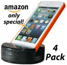 PUCKUPS 4 Pack Indestructible Hockey Puck Cell Phone Stand The Best Smartphone Iphone Samsung Galaxy HTC Ipod Ipod Touch Mp3 Player Phone Stand Made From A Genuine Hockey Puck *** Continue to the product at the affiliate link Amazon.com.