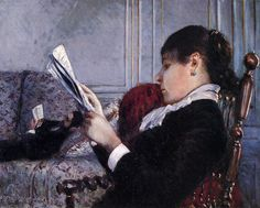 Interior, Woman Reading Gustave Caillebotte (French, Oil on canvas. Interior, Woman Reading shows a close-up of a seated woman reading a newspaper; her husband, lying down. Edgar Degas, Renoir, Claude Monet, Beaux Arts Paris, Books To Read For Women, House Painter, Book People, Woman Reading, Reading Art