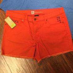 SZ 16PREMIUM DENIM SHORTS BY MOSSIMO  Vibrant orange shorts with rivet embellished pocketsNWT Mossimo Supply Co Shorts Jean Shorts