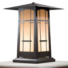 "America's Finest Lighting Company Cobblestone 1 Light Pier Mount Light Shade Finish: Honey, Finish: Old Penny, Size: 17.25"" H x 12.5"" W x 12.5"" D"