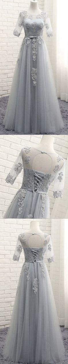 Long prom dress, half sleeve prom dress, lace up back prom dress, silver/grey prom dress, formal prom dress, occasion dress, PD15197 #prom #promdress #prom dress #dress