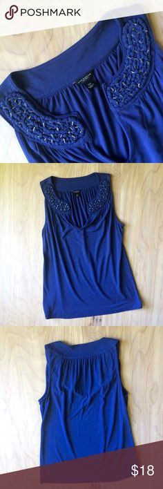 Beautiful Cobalt Blue Beaded Neck Top Really pretty beaded and knotted detail on the collar of this beautiful blue cotton tank. Ann Taylor Tops Tank Tops