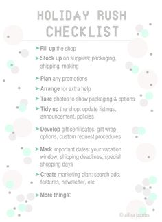 Free Printable etsy checklist for holidays  #etsy #success