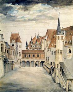 Couryard of the Former Castle in Innsbruck (with Clouds) Albrecht Dürer - circa 1494