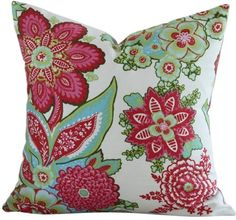 coral pillows | Coral Flowers Throw Pillow - RosenberryRooms.com