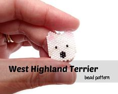 West Highland Terrier (c) Bead Crumbs Pattern Brick Stitch. Available on Etsy. Peyote Patterns, Beading Patterns, Stitch Patterns, Dog Pattern, Beaded Jewelry Patterns, Beaded Animals, Pony Beads, Plastic Canvas Patterns, Crafty Craft