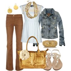 Super cute! Gold and brown, created by htotheb on Polyvore