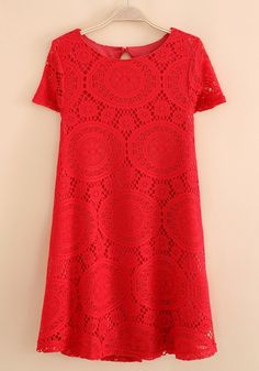 Red Lace Embroidery Short Sleeve Cotton Blend Dress