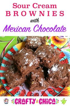 How to make sour cream brownies, great for March Madness party time! Mexican Chocolate Cakes, Mexican Desserts, Chocolate Brownies, Chocolate Desserts, Make Sour Cream, Sandwiches, Tacos, March Madness, Chocolate Lovers
