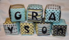 Personalized Cloth Blocks  Handmade for Boy by ThePolkaDotTotSpot, $7.00