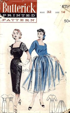 Vintage Pattern 1950s Square Neck Wiggle Dress Slip and Full Overskirt 1953…
