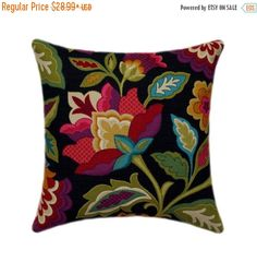 Black Floral STUFFED Throw Pillow - Katia Fiesta Decorative Pillow - Red Orchid Pink Green Floral Pillow - Black Throw Pillow - Free Ship