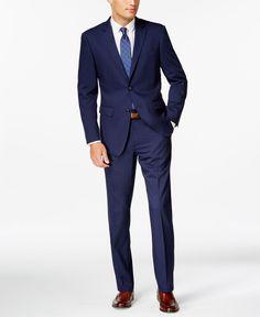 Perry Ellis Blue Twill Slim-Fit Suit