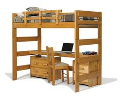 Chelsea Home Furniture 3610009 Loft Bed with Desk Top, 62