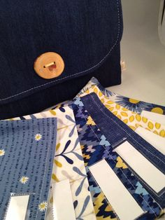 Ready To Ship Cash Envelope System  Cash Wallet by daisylanedesign New to shop. Limited edition 6 count open pocket  cash envelope system in denim and citron, with wooden button.  #cashenvelopes #budgeting #saving #cashwallet