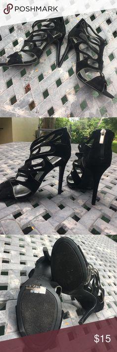 """Never worn black velvet heels size 6 Caged sandal toe velvet heel shoe.  Heel measures 4"""" Anne Michelle Shoes"""