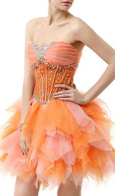 93b78114b9f Orange puffy short formal prom homecoming 2017 junior