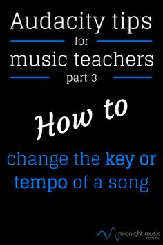 Part 3 of a 5-part series This is the third installment of the Audacity Tutorials for Music Teachers series and this time we tackle how to change the key (pitch) or the tempo of a song. It's really simple to do - give it a go! The other tutorial videos can be found here: Part