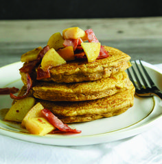 Harvest Pumpkin Pancakes with Bacon Apple Topping