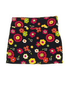 6 Years Girls Skirt by Gymboree | Kidz Outfitters Floral printed on chocolate brown corduroy with side zipper, underpants, and adjustable waist.