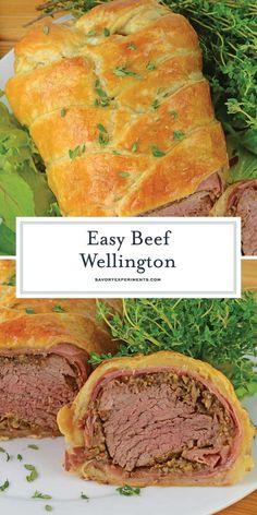 Easy Beef Wellington, Wellington Food, Prosciutto, Beef Tenderloin Recipes, Roast Beef, Stuffed Beef Tenderloin, Roast Brisket, Puff Pastry Recipes, Puff Pastries