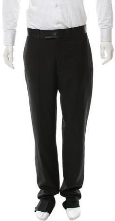 Dior Homme Wool Leather-Trimmed Pants w/ Tags Mens Dress Pants, Christian Dior, Corner, Wool, Tags, Stylish, Leather, Black, Fashion