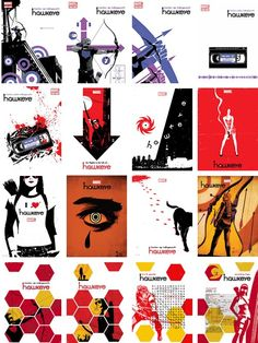 HAWKEYE covers, issues #1-16 ART BY DAVID AJA & MATT HOLLINGSWORTH (except #10 and #12 by FRANCESCO FRANCAVILLA)