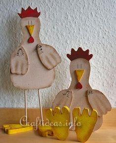 Wood Crafts for Spring - Wooden Chicken recipe card holder