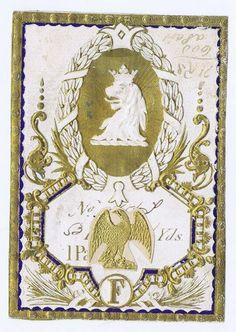 Pure Linen spool fabric embossed  label 1890's  head of crowned lion