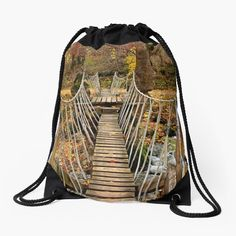 """'Autumnal crossing on the """"Path of Love""""' Drawstring Bag by Hercules Milas Love Bridge, Coast Hotels, Old Greek, Forest Path, Hercules, Autumn, Fall, Trekking, Travel Destinations"""