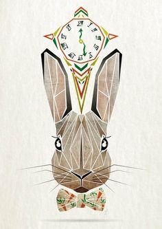 rabbit Art Print by manoou on Society6