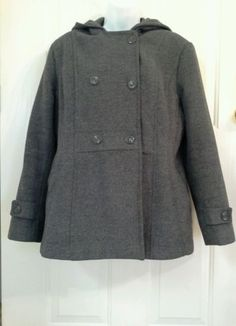 CLEARANCE ST.JOHNS BAY COAT WOOL BLND LINED LG 12/14 GRAY WINTER FASHION WEAR | eBay