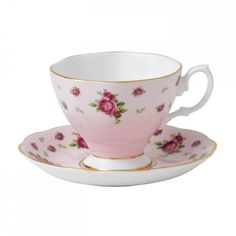 Royal Albert New Country Roses Pink Vintage Espresso Cup and Saucer