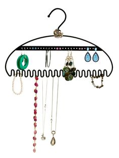 Rebrilliant Hang It Jewelry Hanging Organizer Color: Black Jewellery Storage, Jewelry Organization, Necklace Storage, Closet Organization, Dorm Room Storage, Jewelry Hanger, Jewelry Displays, Jewelry Box, Hanging Organizer
