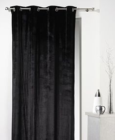 rideaux noir luxe velours pais 168x229cm avec anneaux. Black Bedroom Furniture Sets. Home Design Ideas