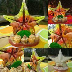 VTG 1960s Retro Florida Kitsch Sea Shell Star Fish Glitter Pink Flamingo TV Lamp