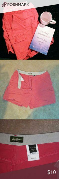 Eddie Bauer Shorts Size 16 peach colored shorts by Eddie Bauer. Cargo pocket on the right leg. 100% cotton. Eddie Bauer Shorts Cargos