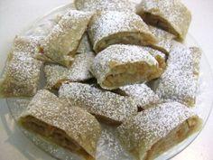 sliced apple strudel topped with powdered sugar jablkova strudla #Slovak #Dessert