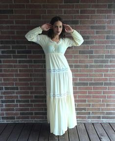 Items similar to vintage Cream PEASANT Sheer LACE Maxi Slip DRESS boho hippie empire vintage lingerie gown romantic nylon prairie loungewear on Etsy Silk Floral Dress, Lace Maxi, Lace Ruffle, Lingerie Gown, Matching Costumes, Hippie Designs, Lace Trim Shorts, Full Skirts, Vintage Lingerie