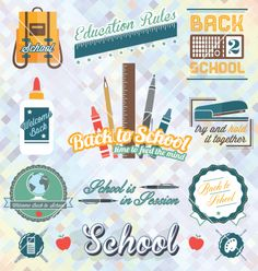 Back to school labels and icons vector - by JamesDaniels on VectorStock®