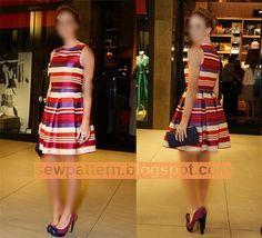 باترون مفصل لفستان قصير مقاس 38 - 56 - Sew Pattern