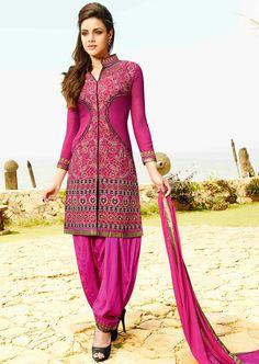 USD 35.77 Pink Georgette Punjabi Suit 48030