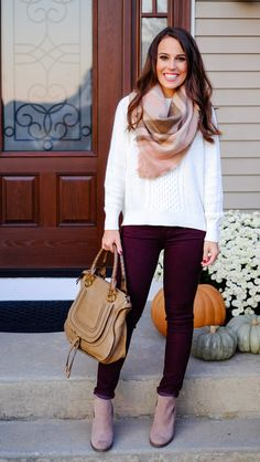 21c81aa71803 Click here to shop this casual Fall outfit. A plaid blanket scarf and burgundy  pants