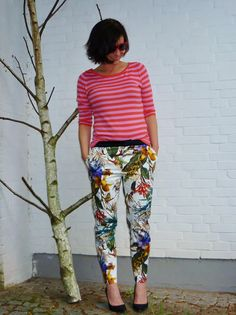 Zara trousers - love the pink stripy top