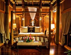 The bures (villas) at Namale Resort & Spa were designed with romance in mind! Heavenly Bed, Tropical Bedrooms, Spa Tub, Layout, Wood Interiors, Vintage Stil, Luxury Villa, Beautiful Bedrooms, Dream Bedroom