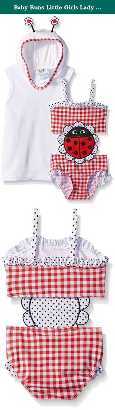 Baby Buns Little Girls Lady Bug Terry Cover Up Swimwear Set, Multi, 6. 1 piece ladybug red picnic bathing suit with cover up.