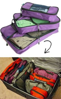 Packing Cubes -- I NEED these! Great for if you have several stops and hotel stays //// 55 Genius Storage Inventions That Will Simplify Your Life -- A ton of awesome organization ideas for the home (car too!).