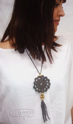 Check out our pendants selection for the very best in unique or custom, handmade pieces from our shops. Crochet Needles, Knit Or Crochet, Crochet Bracelet, Crochet Earrings, Crochet Mandala, Fabric Jewelry, Crochet Accessories, Jewelry Crafts, Crochet Projects