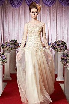 A-Line/Princess Jewel Floor-length Tulle Evening Dress